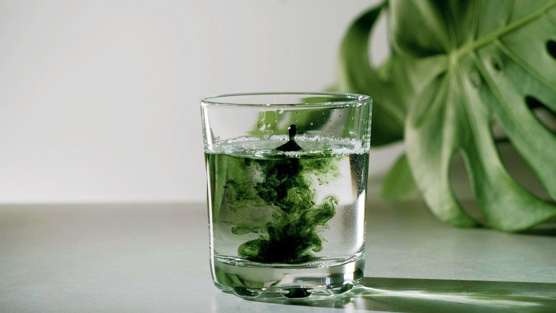 Glas mit Wasser und Chlorophyll-Tropfen