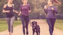 Entspanntes Laufen: Frauen joggen mit einem Hund - Foto: LarsZahnerPhotography/iStock