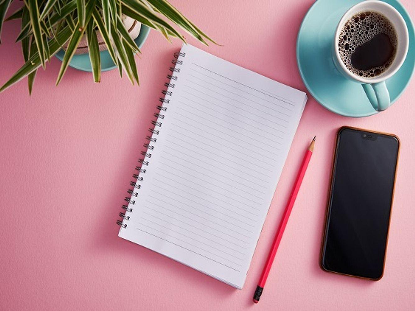 Notizbuch, Stift, Handy, Kaffeetasse und Topfblume vor rosa Hintergrund