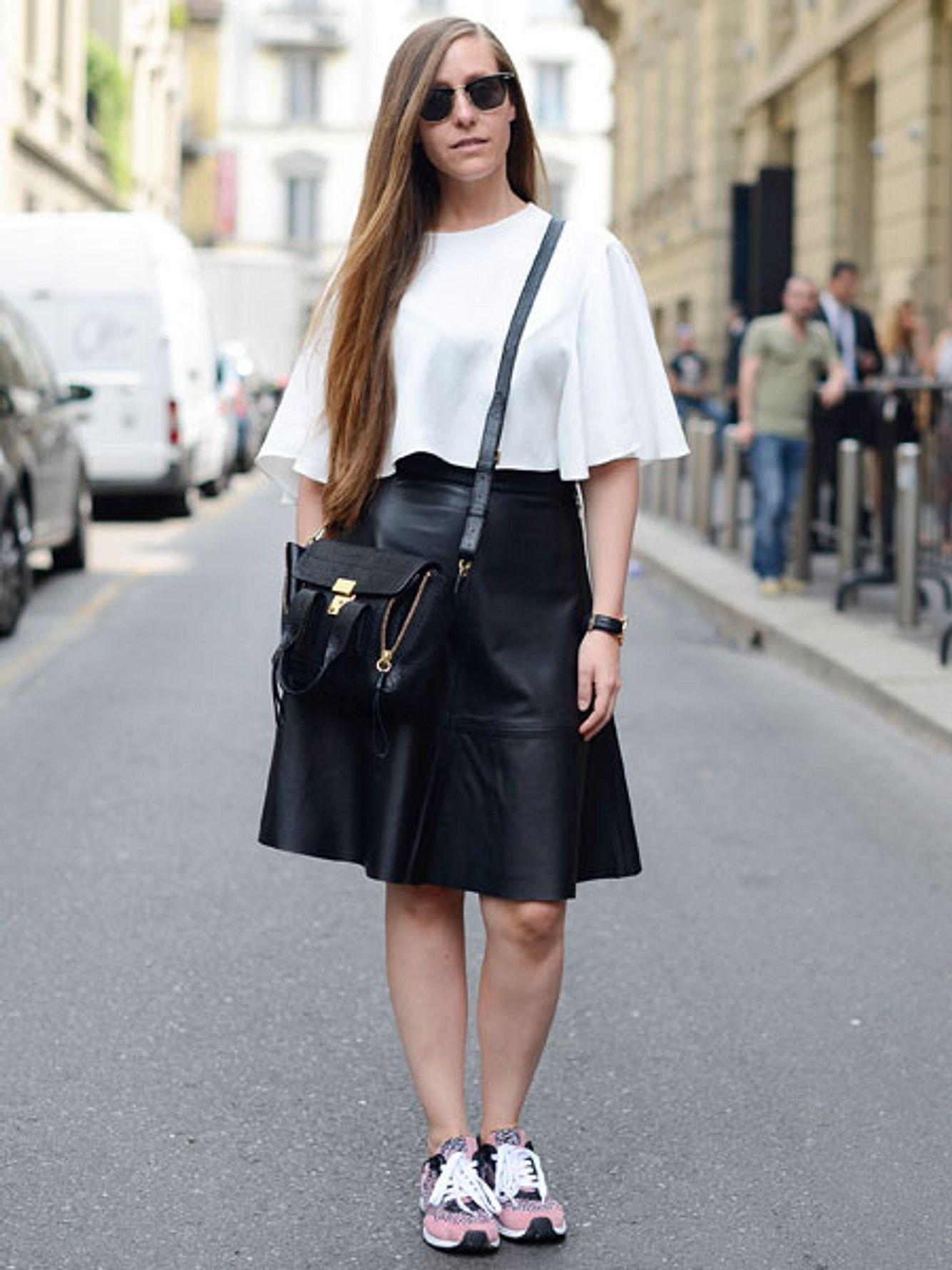 trend schwarzer lederrock
