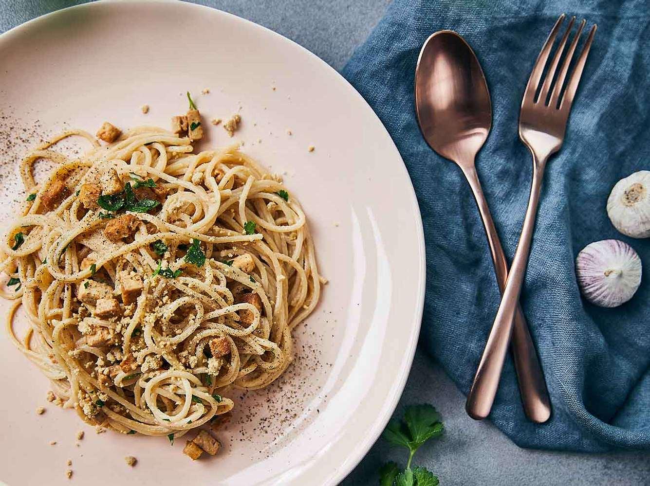 Vegane Pasta: Rezept für vegane Spaghetti Carbonara