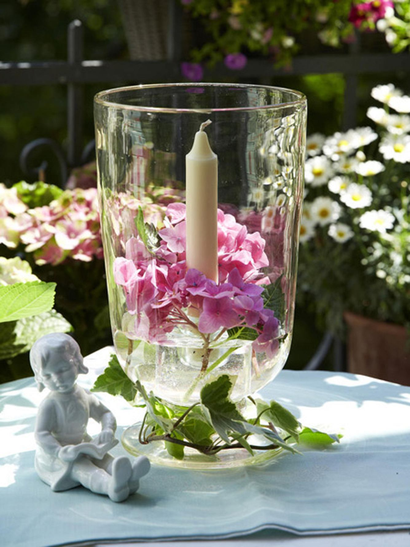 windlicht hortensien